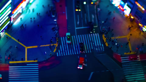 A night timelapse of miniature crossing at the neon town in Shibuya high angle Live Action