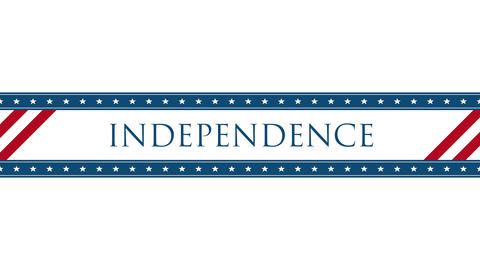Animated closeup text Independence on holiday background, Nation Day of USA Animation