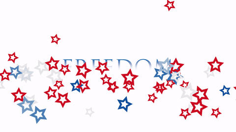 Animated closeup text Freedom on holiday background, Independence Day of USA Animation