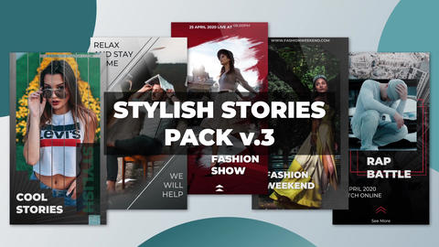 Stylish Stories Pack v 3 After Effectsテンプレート