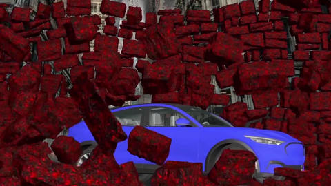 Car and stone wall collapse car breaks a stone wall crashing car (1) Animation