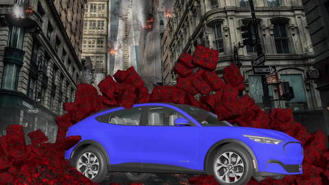 Car and stone wall collapse car breaks a stone wall…, Stock Animation