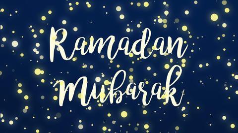 Glowing dark blue Ramadan Mubarak greeting card video Animation