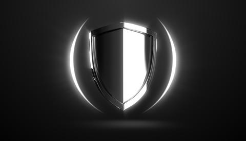 Silver steel protection shield design on black background Photo