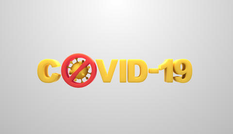 Coronavirus covid-19 text design on white background for concept of stopping spread virus Photo