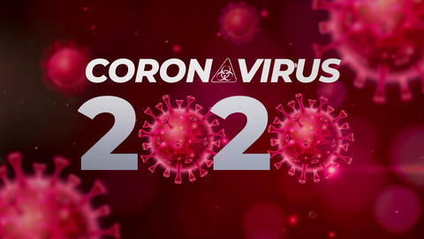 4K Coronavirus word with Hazard sign Animation