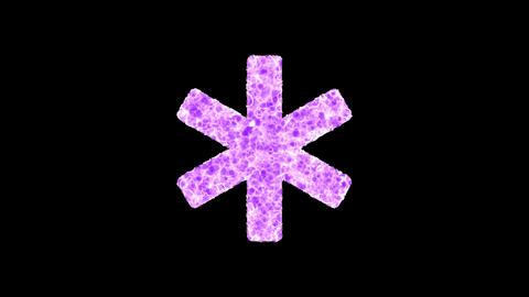 Symbol star of life shimmers in three colors: Purple, Green, Pink. In - Out loop. Alpha channel Animation