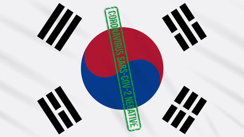 South Korea swaying flag with a green stamp of freedom from coronavirus, loop Animation
