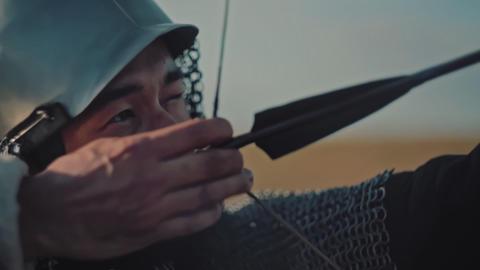 ASTANA, KAZAKHSTAN - MAY 8, 2017: Archer firing a bow…, Live Action
