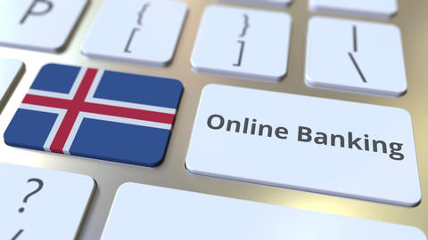Online Banking text and flag of Iceland on the keyboard. Internet finance Live Action