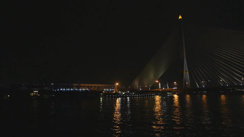 Night view of Bangkok from Chao Phraya river Live Action