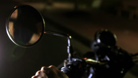 Closeup Guy Reflection in Motorcycle Mirror Hands on Controls Live Action