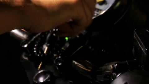 Closeup Guy Hand Switches on Motorcycle Throttle on Board Footage