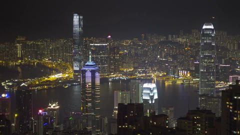Hong Kong at night from Victoria peak, timelapse Footage
