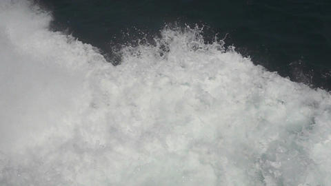 Waves of sailing ship in the sea, slow motion Footage