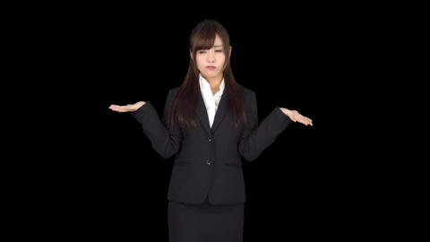 Young Japanese business woman thinking Footage