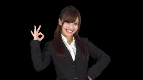 Young Japanese business woman good sign Live Action