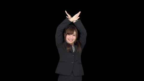 Young Japanese business woman ok sign Footage