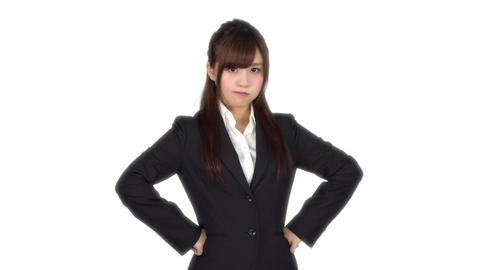 Angry young Japanese business woman Footage