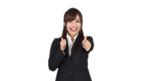 Young Japanese business woman fast good sign Live Action