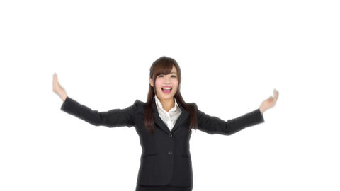 Young Japanese business woman ok sign Live Action