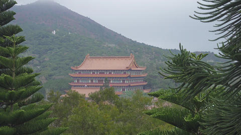 Po Lin Monastery at the Lantau island, Hong Kong Footage