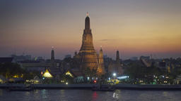 Wat Arun temple at night in Bangkok, Thailand Footage