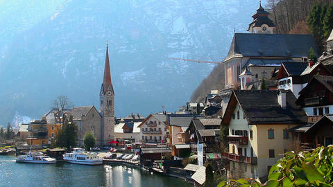 Nice mountain village in Austrian Alps, fantastic house of dream Footage