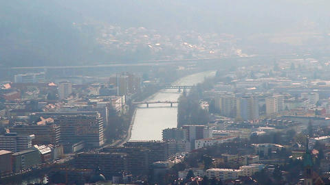 View of urban landscape, smog, ecology problem in big city Footage