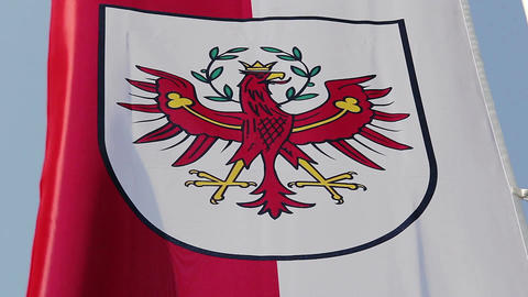 Flag with Tyrol coat of arms waving in wind, state of Austria Footage