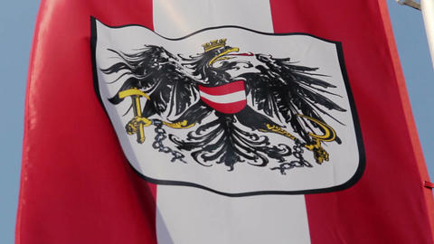 Austrian flag with national emblem, symbol waving slowly in wind Footage