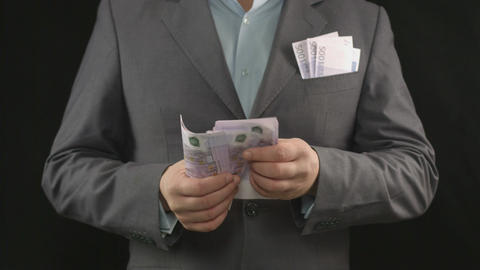 Counting paper money. Lottery win, successful business, fortune Footage