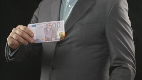 Burning five hundred euro bill, money wasting, spending, loser Footage