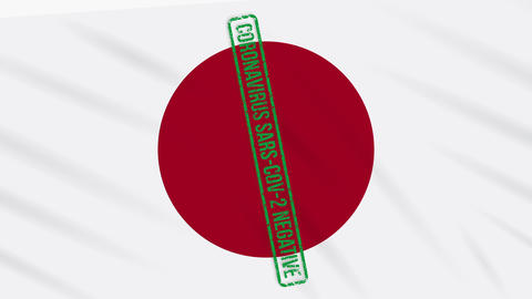 Japan swaying flag with a green stamp of freedom from coronavirus, loop Animation