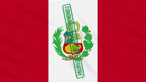Peru swaying flag with a green stamp of freedom from coronavirus, loop Animation