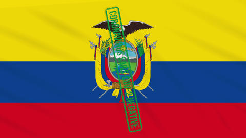 Ecuador swaying flag with a green stamp of freedom from coronavirus, loop Animation