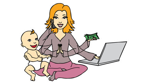 Work from home Women earning online and taking care of Kid Line Drawing Animation Transparent Animation
