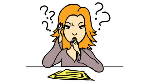 Work from home confused women with question mark Line Drawing Animation Transparent background Animation