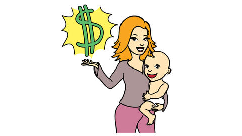 Work from home Women With Kid and Dollar Sign Line Drawing Animation Transparent background Vector Videos animados