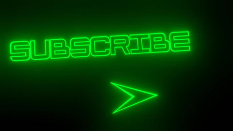 Subscribe green blurry neon title with arrow and neon earth animation Animation