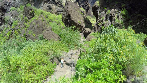 Aerial view. girl walks along a picturesque famous gorge Masca . Tenerife Canary Live Action