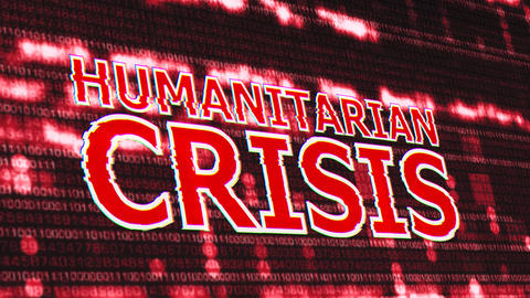 4K Humanitarian Crisis Corrupted Signal Notification Display Animation