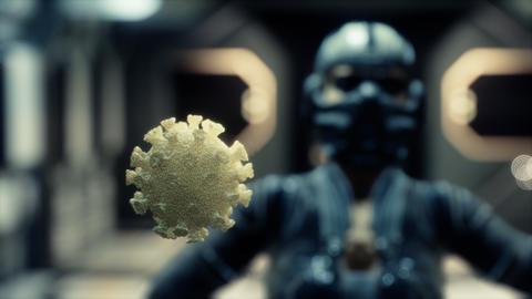 woman in protective medical mask on her face looking at COVID-19 coronavirus Acción en vivo