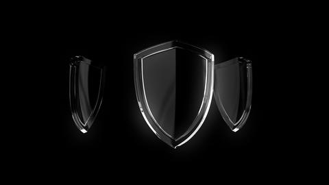 3d animation of glass shield rotating, sign of protection, defense and security on black background Animation