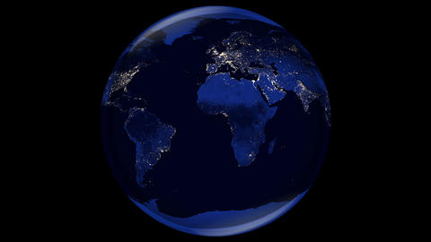 Rotating planet earth 3D animation in night with city light on black background. Elements furnished Animation