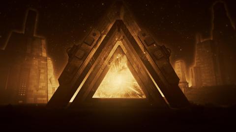 Orange Sci-Fi Ancient Portal Stargate - Epic VJ Loop Background Animation