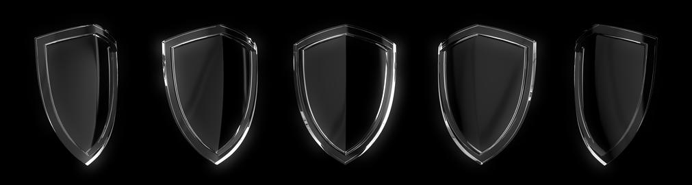 Set of glass protection shield design isolated on black background Photo