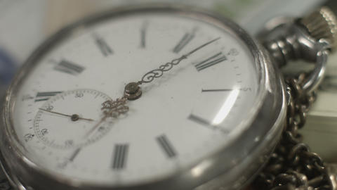 Pocket watch dial closeup, hands moving. Time flying by, history Footage