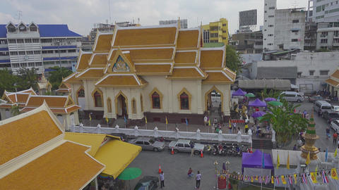 Temple near Wat Traimit (temple of Gold Buddha) Footage