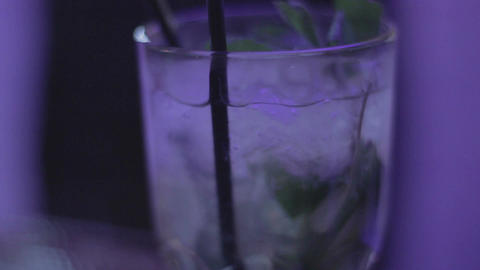 Glass of mojito, refreshing cocktail, lime, mint, ice, thirsty Footage